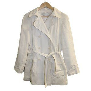 Zara White Double Breasted Belted Trench Coat